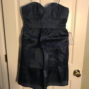 J.Crew Blue Three Tiered Strapless Silk Dress